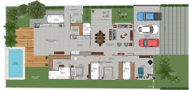 Casa Cond. Fechado  com 3 quartos sendo 3 Suítes no Condominio Florais Itália, Cuiabá  - MT