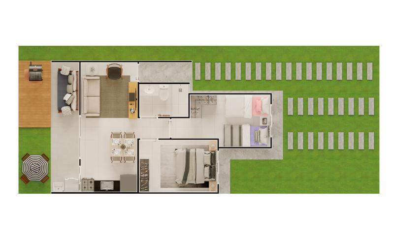 Casa Cond. Fechado  com 2 quartos no Cohab Cristo Rei, Várzea Grande  - MT